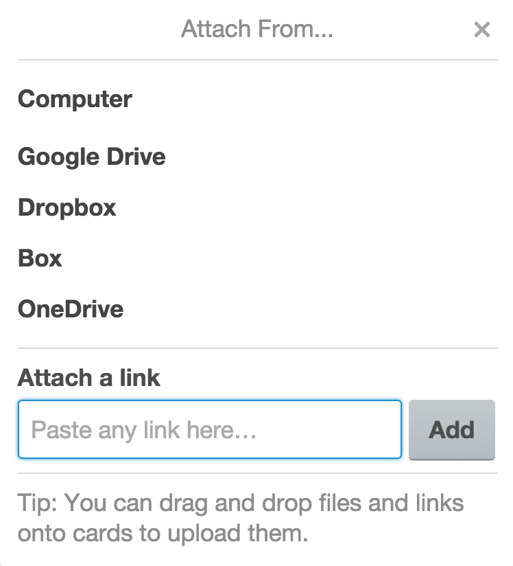 Attach files from your favorite online services, or even straight from your computer.