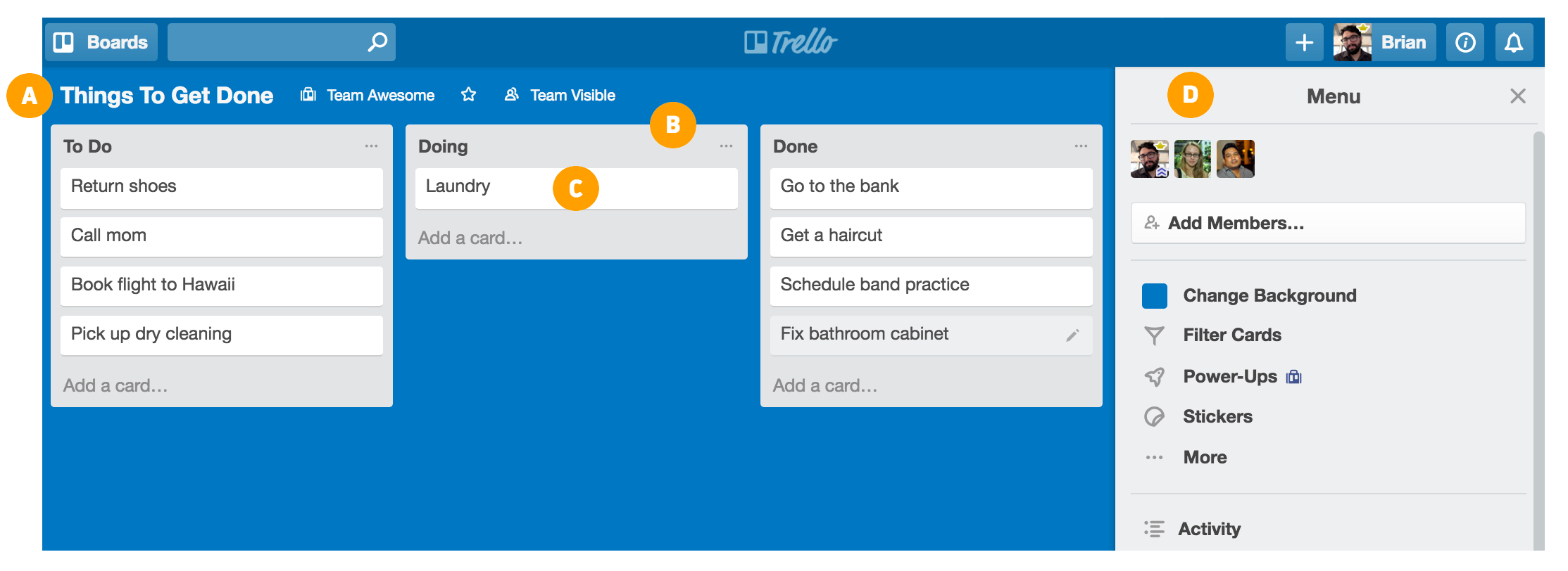 Basics of a Trello board
