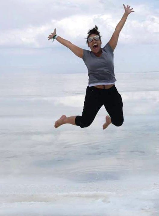 Woman jumps in midair